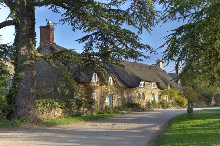 The tiny village of Hidcote Bartrim near Hidcote Gardens, Chipping Campden, Gloucestershire, England.